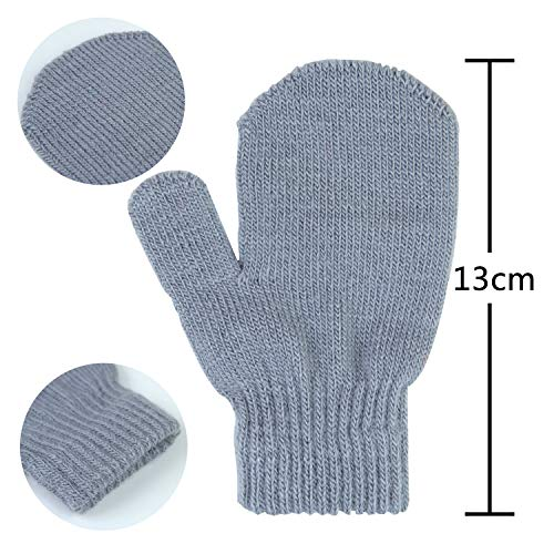 12 Pairs Toddler Stretch Mittens Winter Knitted Gloves Unisex Baby Kids Mittens